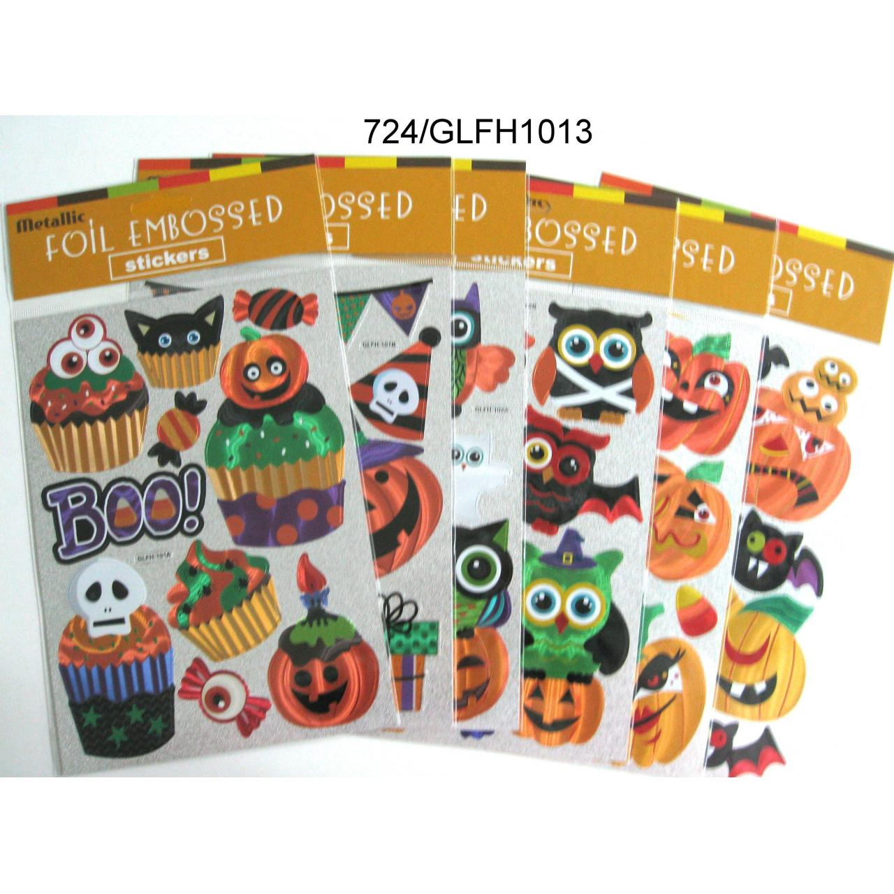 Wholesale 6 HALLOWEEN DESIGNS FOIL EMBOSSED STICKER from china suppliers