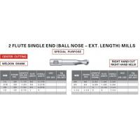 Buy cheap Milling Tools (ANSI) 2 Flute Single End(Ball Nose-Ext.Length) Mills from wholesalers