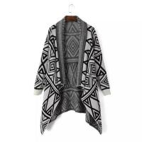 Buy cheap Knitted pattern cardigan sweater grey women shawls poncho from wholesalers