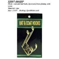 Buy cheap Hook - coat and hat hook, 2pcs/card, brass plating, w/screws from wholesalers