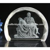 Wholesale 3D Laser 3D Laser engraved Pieta crystal religious gifts from china suppliers