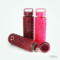 Glass Water Bottles Silicone sleeve heat insulation and anti scald bottle