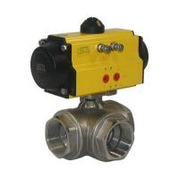 China 3-Way Threaded Pneumatic Ball Valve on sale