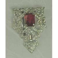 Wholesale Unsi Impressive ART DECO Dress Clip with Faceted Red Glass Stone from china suppliers