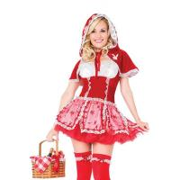 Buy cheap Little Red Riding Hood Fancy Dress Outfit With Red Dress and Playboy Bunny Embroidered Hood from wholesalers