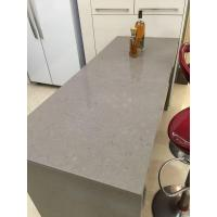 China Cheapest Light Dark Grey (Gray) Quartz Kitchen Countertops with Undermount Sink and White Cabinet on sale