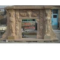 China Outdoor Fireplace Mantle, Marble Fireplace With Human Carved on sale