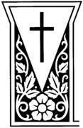 Religious Headstone Design 3008--Tapestry Style Cross and Floral Motif