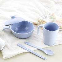 Healthy Wheat Straw Environmental Protection Tableware 4 Set Straw Bowl Cup Spoon Chopsticks as Gift
