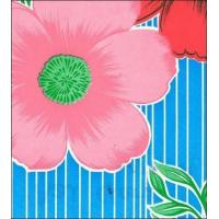Big Flowers and Stripes Light Blue Oilcloth Manufactures