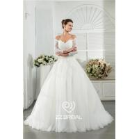 Buy cheap Excellent long sleeve off shoulder sweetheart neckline lace appliqued wedding gown factory from wholesalers