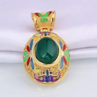 Wholesale Cheap Price Inlay Chrysoprase Stone Oval Caddy With Hoop Pendant from china suppliers