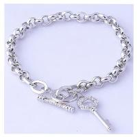 Buy cheap White gold plating sterling silver chain bracelet with key charm from wholesalers