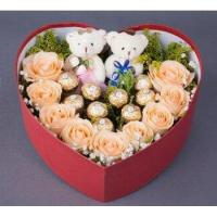 Wholesale Roses Champagne Roses Chocolate Heart Box from china suppliers