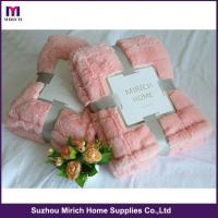 Wholesale Fake Rabbit Hair Luxurious Two-Layer Fleece Blanket from china suppliers