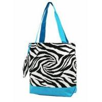 Buy cheap Zebra Print Monogrammed Tote Bag- Turquoise from wholesalers