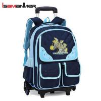China 3 wheels rolling backpack trolley school bag for girls on sale