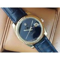 Buy cheap Copy Rolex Vintage Datejust Black Dial Black Leather Band from wholesalers