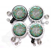 Buy cheap Badge Reel - Personalized Teal and Gray Flowers Retractable Nurse Lanyard ID Holder from wholesalers