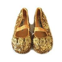 Buy cheap China Doll Gold Sequined Ballerina Shoes w/Strap & Rosettes 2Inf 5tdlr from wholesalers