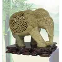 Buy cheap Natural Qingtian stone carving elephant ornament from wholesalers