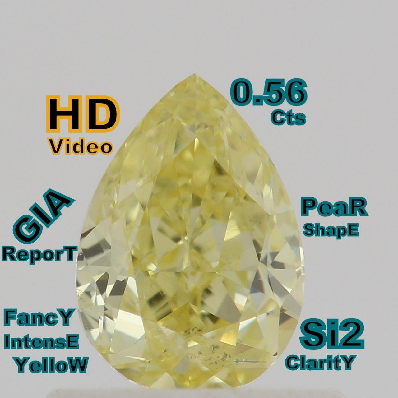 Wholesale GIA CERTIFIED 0.56 Cts Natural Intense Yellow Color Pear Shape Loose Diamond L4706 from china suppliers