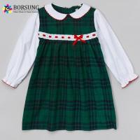 Buy cheap Green Gingham Cotton Long Sleeve Dresses For Baby Girls from wholesalers