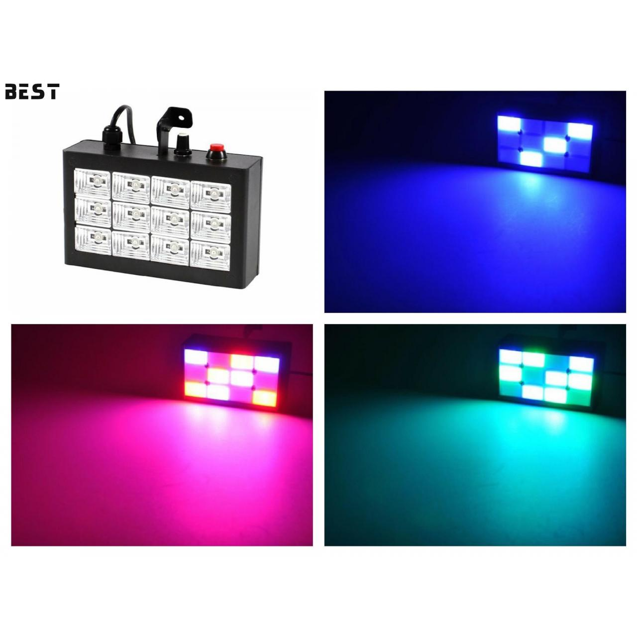 Buy cheap 12pcs LED Sound Actived Strobe Light RGB Flash Light Stroboscope Disco for Club Stage Party Lighting from wholesalers
