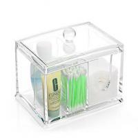 Crystal acrylic organizer cosmetic storage box makeup cotton holder cotton Swab A117 Manufactures