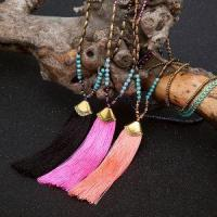 Buy cheap Turquoise Bead Crystal Bead Seed Beads Necklace With Colorful Cotton Tassel Pendant from wholesalers
