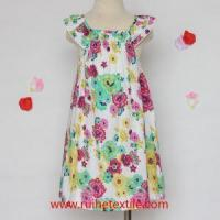 Buy cheap Casual Summer Trendy Dress Flower Printed Poplin Pretty Dress for Girls from wholesalers