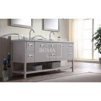 Buy cheap 72 online Grey Bathroom Vanity Base Double Sink with vessel Shaker Drawers and Shelves from wholesalers