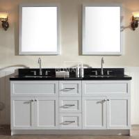 Buy cheap 72 Double Bowl White Bathroom vanities Cabinets with Black Granite, Framed Mirror and Square Sink mo product