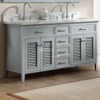 Buy cheap Grey Painted Farmhouse Bathroom Double Sink Vanity 60 inch with Marble Top Option product