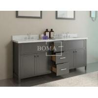 Buy cheap 72 inch Black Bathroom Double Vanity and cabinets with White Quartz Top, Rectangular Undermount sta product
