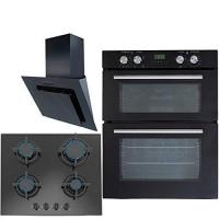Buy cheap SIA Built Under Electric Double Oven, Angled Cooker Hood & 60cm Black Gas Hob from wholesalers
