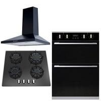 Buy cheap SIA 60cm Built In Electric Double Oven, Black Gas Hob & Chimney Cooker Hood from wholesalers