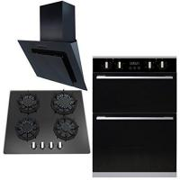 Buy cheap SIA 60cm Built In Electric Double Oven, Black Gas Hob & Angled Glass Cooker Hood from wholesalers