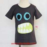 Summer Short Sleeve Baby Tee Shirt Monster Puff Print Infant Boy Clothes Manufactures