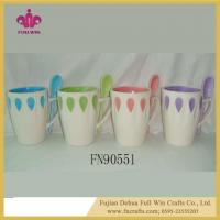 Ceramic Soup Mug with Lid and Saucer and Spoon Ceramic Embossed Mugs