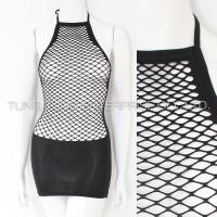 Buy cheap Women's Lingerie Fishnet Halter Dress with Opaque Bottom from wholesalers