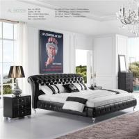 Buy cheap Modern Design Black Bonded Leather Upholstered Bed Frame with Sparkling Crystal from wholesalers