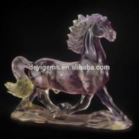 Fluorite Crystal Gemstone Engraving Hand Carved Fun Horse Gifts