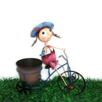 Buy cheap metal bicycle plant stand with girl planter from wholesalers