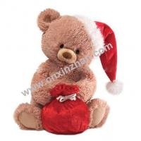 Buy cheap Plush Christmas Teddy Bears Soft Toy Gifts With Cap, Bag, Cloth, White Brown Colors On Sale from wholesalers