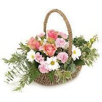 Wholesale Flowers White and Pink Flower Basket from china suppliers