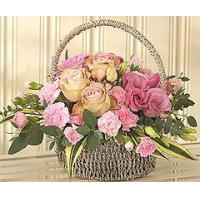Wholesale Flowers Flower Basket with Pink Roses from china suppliers