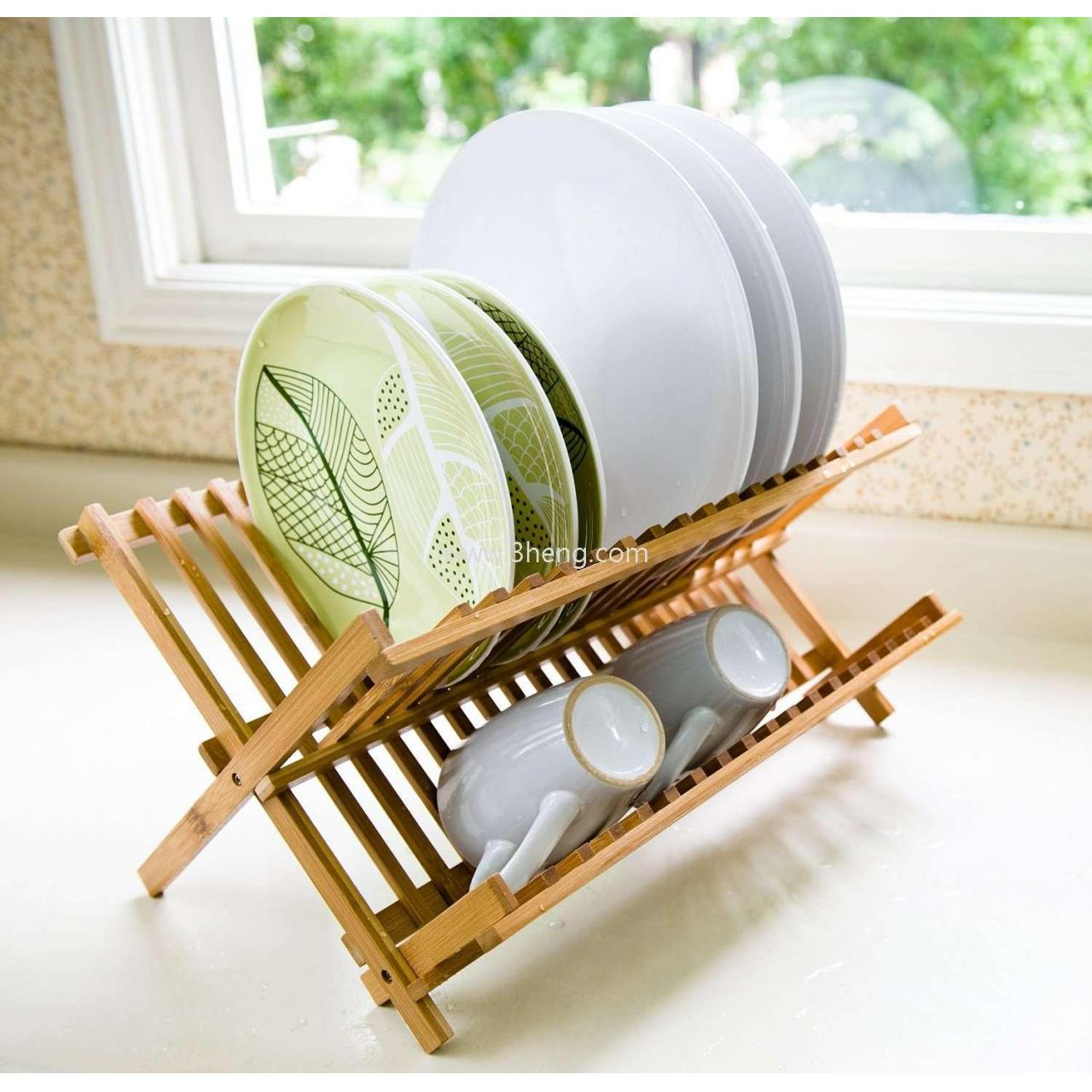 Wholesale Bamboo Scissor Style Folding Dish Rack /Plate Drying Rack Drainer Storage Organizer from china suppliers