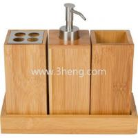 Wholesale Bath set bath caddy bamboo bath accessories set with toothbrush rack and bamboo soap dispenser from china suppliers