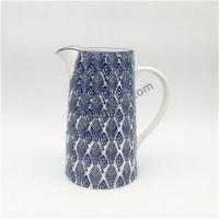 Buy cheap Chinese blue and white porcelain hand stamped large capacity ceramic water jug from wholesalers